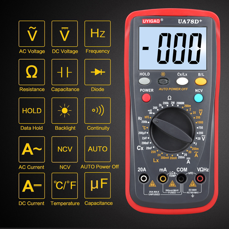 Best Temperature Test True RMS Function Avometer High Precision Auto Range Digital Multimeter UA78D