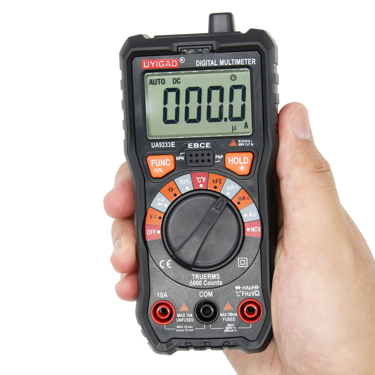 digital multimeter with TRMS NCV 6000 counts ac dc resistance ua9233e