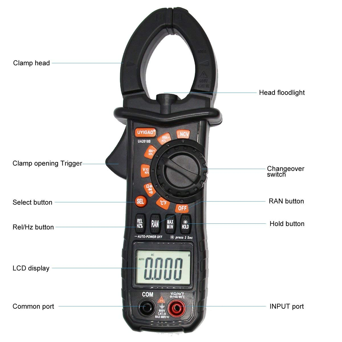 Digital Clamp Meter with 6000 Counts Auto Range Multimeter with AC DC Voltage, Resistance, AC Current, Diode Test, Build in Flashlight and LCD Display